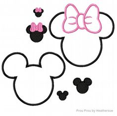 Mister and Miss Mouse Heads TWO design SET  Machine Applique Embroidery Designs, Multiple sizes including half, 1, 2,4, 6, and 7 inch, $7.00