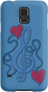 Blue My Heart's Plugged In To Music | Snap Cases, Tough Cases, & Skins for iPhones 4s/4 5c/5s/5 6/6Plus & Samsung S3/S4/S5 Galaxy Phones. **All designs available for all models.