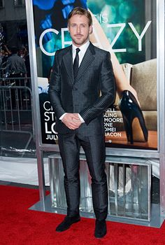 Yes, Ryan Gosling can pull off anything, including this skinny-legged, checkered Gucci suit!