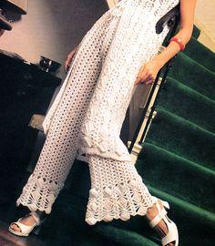 Vintage 1970s Crocheted Lacy Bell Bottom Pants Long Boho Tunic PDF Crochet Pattern. $5.00, via Etsy.