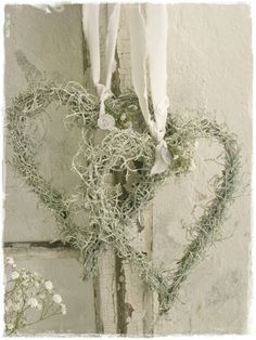 35 Creative DIY Heart Symbols Another heart wreath without the flowers and more vines and small bran Moss Wreath, Diy Wreath, Christmas Crafts, Christmas Decorations, Holiday Decor, White Christmas, Christmas Ideas, Christmas Wreaths, Deco Noel Nature