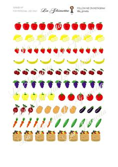 Printable FRUITS AND VEG sticker mix #1 -Digital File Instant Download - planner girl, Mambi, happy planner, fruit and vegetables di LaGhinetta su Etsy