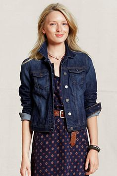 Women's Heritage Jean Jacket    This relaxed jean jacket will go great over dresses as you head out to concerts and other outdoor activities this spring and summer. Add a belt or a statement necklace to complete your look.    #landsendcanvas