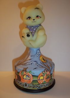 Fenton Glass OOAK Haunted Halloween Fright Train Bear on Font by Sunday Davis
