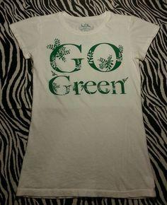 ~ LOL Organic Cotton Girls White Go Green Earth Day Tee Shirt Top Size L ~ EUC #LOL