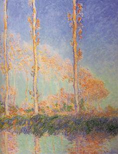 Les Peupliers, trois arbres roses, automne;  Monet 1891