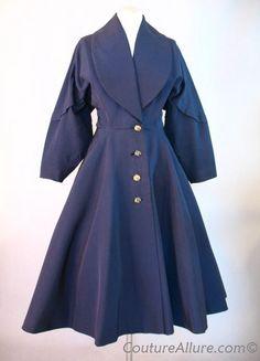 1950s Navy Faille Princess Coat