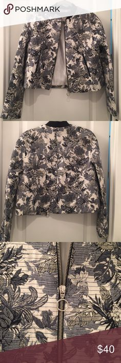 Zara Patterned Bomber Jacket Super trendy bomber jacket with blue tropical print slightly cropped/boxy silhouette gives this classic jacket a modern look. Size medium, fits true to size. No trades please ☺️ Zara Jackets & Coats
