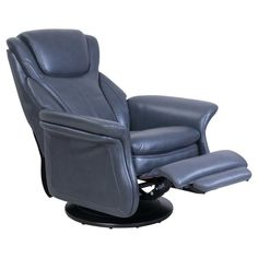 The Barcalounger London Swivel Pedestal Recliner offers you a perfect place to shed your stress after a long day at the office. Barcalounger, New Furniture, Grey Leather, Pedestal, Contemporary Style, London, Metal, Recliners, Home Decor