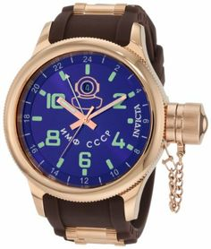 Invicta Men's 1218 Russian Diver 18k Rose Gold Ion-Plated Blue Dial Brown Polyurethane Watch Invicta. $169.99. Swiss Quartz Movement. Date Function. Blue Dial with Rose Gold Tone Hands, Green Hour Markers and Arabic Numerals; Luminous; Coin Edge Bezel; Secured Screw-Down Protective Cap on Crown; GMT Function. Water-resistant to 330 feet (100 M). Mineral Crystal; Polished 18k Rose Gold Ion-Plated Stainless Steel Case; Brown Polyurethane Strap with 18k Rose Gold Ion-Plated Stain...