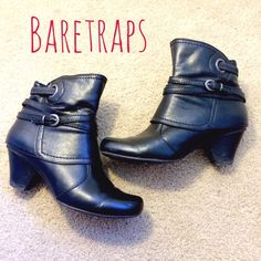 ⭐️BLACK BARETRAP BOOTIES⭐️ Black BARETRAPS booties in amazing condition. Zippers on inside. Size 6. One small white scratch on outside right toe not too noticeable. Heel is approx. 2 inches. Perfect for fall! BareTraps Shoes Ankle Boots & Booties
