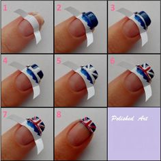 French Nails - Great Britain Style :D Nail Polish Designs, Cute Nail Designs, Nails Design, Diy Nails, Cute Nails, Nail Nail, Union Jack Nails, French Tip Nail Art, Nagel Hacks