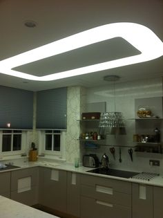 Kitchen Ceiling with Barrisol light. https://www.feszitett-folia.com