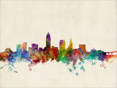 Cleveland Ohio Skyline Art Print 12x16 up to 24x36 by artPause
