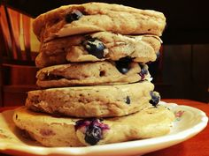 Whole Wheat Blueberry Pancakes - healthy and delicious YUM