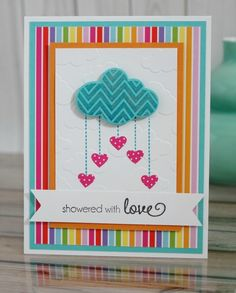 Showered with Love card by Regina Mangum #Cardmaking, #ValentinesLove, #TEMatched, #EmbossingFolders, #ShareJoy, #TE