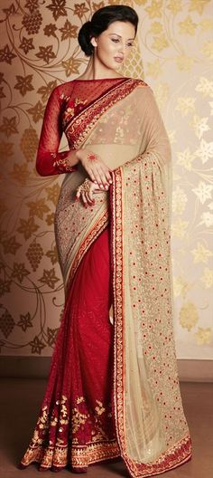 189207 Beige and Brown, Red and Maroon  color family Bridal Wedding Sarees in Faux Georgette, Net fabric with Lace, Machine Embroidery, Resham, Stone, Zari work   with matching unstitched blouse.