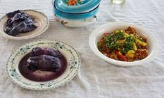 Red cabbage leaves stuffed with barley and duck and toasted buckwheat groats 'gypsystyle'