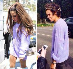 Harry Styles Ariana Grande Lilac Sweater - http://oceanup.com/2014/04/24/harry-styles-ariana-grande-lilac-sweater/