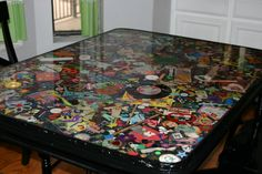 Junk table. Going to do this for each kid once they grow out of these things.