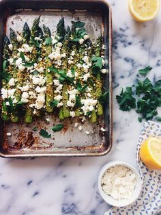 roasted asparagus with pistachios and feta