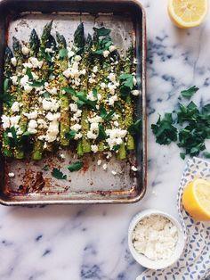 Pistachio Crusted Asparagus with Feta - Joy The Baker