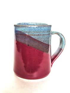 Large Handmade Ceramic Mugs -- Two toned colored Twilight and Raspberry -- 16 oz Hand crafted blue and red cup