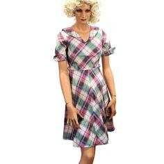 School Daze 40s Dress XS Plaid Cotton Petite Tween Size Bonnie Blair B33 by MorningGlorious on Etsy
