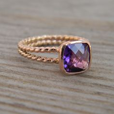 Size 6.5 Ready to Ship Rapunzel Ring In 14k Rose by onegarnetgirl