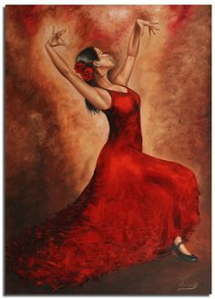 FLAMENCO.....PAINTING....ON MALARSTWO OLEJNE....GALERIA OBRAZOW......... Dancing Drawings, Art Drawings, Woman Painting, Painting & Drawing, Spanish Dancer, Fantasy Paintings, Dance Art, Anime Comics, Female Art
