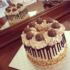 Layer cake ferrero rocher perfectly chocolate cake easy chocolate cake decorating recipes by so yummy amazing cake Mini Cakes, Cupcake Cakes, Food Cakes, Ferrero Rocher Torte, Fererro Rocher Cake, Lemon And Coconut Cake, Birthday Cake For Him, Birthday Cakes, Dessert Party