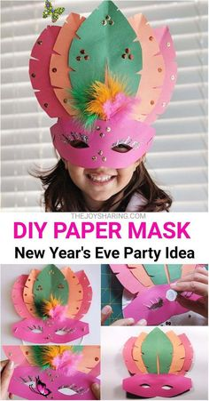 DIY Paper Mask Craft for Kids Complete your kid's New Year's Eve attire with this super cute paper mask. Fun DIY paper mask idea for kids.<br> Fun and easy mask for kids to make. Cute mask idea for Mardi Gras. This DIY party mask is also a perfect craft for New Year Eve's party. New Year's Crafts, Diy Projects For Kids, Paper Crafts For Kids, Paper Crafting, Diy For Kids, Craft Projects, Preschool Crafts, Craft With Paper, Project For Kids