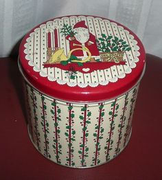 Santa Surrounded by Holly, Berries, French Horn Tin Box Container Canister