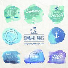 水彩タッチの背景と手描きフォントが爽やかな夏の文字ラベルベクター