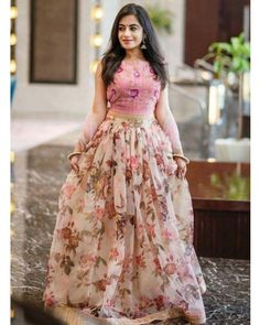 Floral lehenga - Floral print Pink organza lehenga with pink blouse and pink dupatta Prefect dress for bridesmaids or Lehenga Choli Designs, Lehenga Designs Simple, Choli Blouse Design, Ghagra Choli, Blouse Designs, Lehenga Skirt, Anarkali Dress, Blouse For Lehenga, Sari Dress