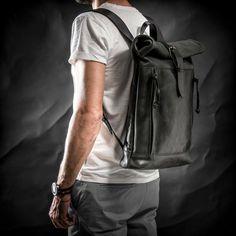 Leather backpack Roll top backpack by Kruk Garage Black