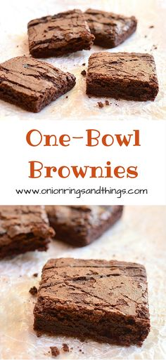 One Bowl Brownies are decadent, super fudgy brownies that takes one bowl to make and less than 15 minutes prep time