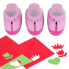 Paper Punch Hole Puncher -- (3 PACK Heart Tulip Crown) -- Personalized Paper Craft Punchers Shapes Set -- For Scrapbook Engraving Kids Artwork -- Greeting Card Making DIY Crafts *** Learn more by visiting the image link.