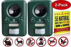 Pest Beater (Set of 2) Outdoor Solar-Powered #Ultrasonic Animal Repeller, repels animals from your yard, garden and lawn in less than 21 days - or 100% of your ...