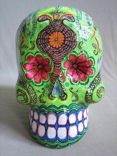 Day of the dead Skull.Paper Mache skull made by Great Master of Mexican Folk Art Felipe Linares Mexico Day Of The Dead, Day Of The Dead Skull, Mexican Skulls, Mexican Folk Art, Crane, Candy Skulls, Sugar Skull Art, Mayan Symbols, Viking Symbols