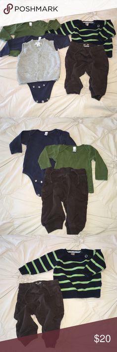 Zara, American Apparel, H&M & Cherokee Bundle ~3-6 Like New (3-6) Month BUNDLE! Zara Sweater, (2) American Apparel Long Sleeved Shirt & Long Sleeved Onesie, H&M pant & Cherokee Vest Zara Shirts & Tops