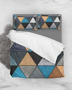 Colorful Concrete Triangles 2 - Blue, Gray, Brown // Duvet Cover + Pillow Shams by Zoltan Ratko // This pattern design is also available as a wall art, apparel, tech and home product. Grey Bedding, Luxury Bedding, Linen Bedding, Bed Linen, Cozy Bedroom, Teen Bedroom, Master Bedroom, Pillow Shams, Pillow Covers