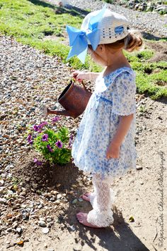 """Angelina"" Vintage inspired spring/summer dress in blue and white  www.arabellarosedesigns.com"