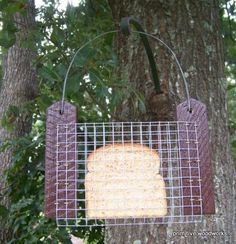 Toast or Bread Bird Feeder - Primitive Rustic Recycled Rough Cedar - Painted Brown, Red or Green