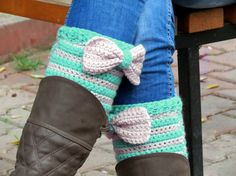 Short Knit Boot Cuffs with bow vanilla mint. Short by EmofoFashion, $26.00
