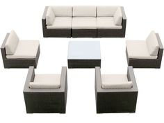 Belizo Modern Patio Garden All Weather Guethary 8 pcs Resin Wicker Furniture Sofa Set