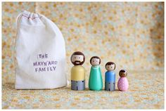 peg doll family in a bag