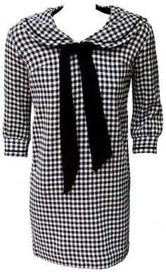 1960 Small Dress Gingham Mod Preppy Cloth by TopangaHiddenT
