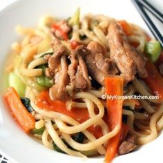 Korean Style Stir-fried Udon Noodles and Chicken
