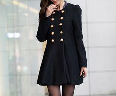Black Woman Jacket/ Winter Coat/Woolen coat/ by Eloneeclothing, $69.00